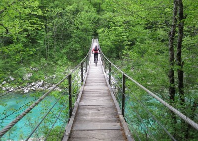 Slovenia Ladies MTB Day 2 Wooden Bridge across Soca Anita