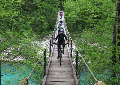 Slovenia Ladies MTB Wooden Bridge across Soca River