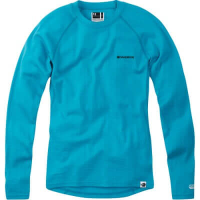 Madison Isoler Womens MTB Merino Wool Long Sleeve Base Layer Aqua Blue
