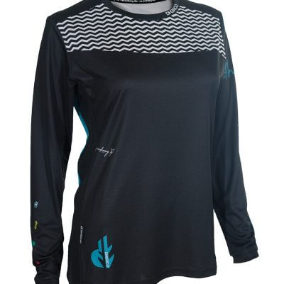 DHaRCO Women's MTB Long Sleeve Jersey – Black Aqua Wave