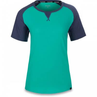 Dakine womens MTB short sleeve jersey XENA Aqua Green and Crown Blue