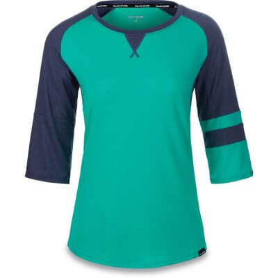 Dakine womens MTB 3/4 sleeve jersey XENA Aqua Green and Crown Blue