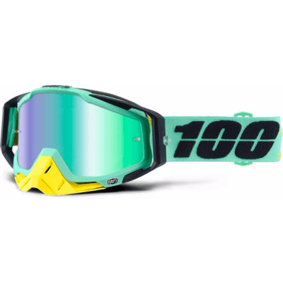 100% Racecraft MTB Goggles kloog with mirror green lens