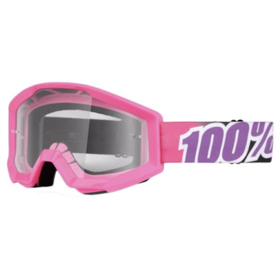 100% Strata MTB Goggles bubblegum pink with clear lens