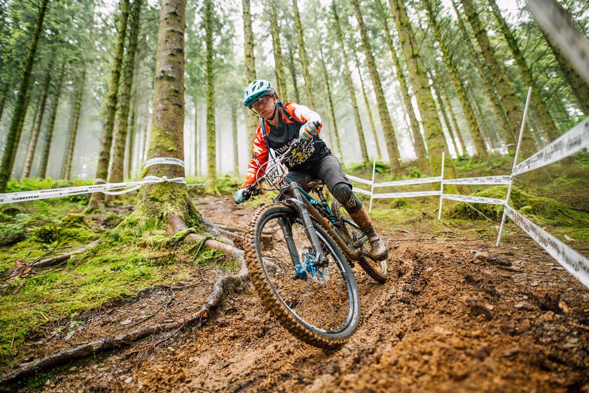Katie Wakely, Don Skene team rider at the Welsh Gravity Enduro Dyfi