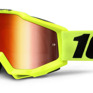 100% Accuri Goggles Fluo Yellow Mirror Red Lens