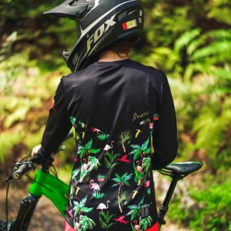 DHaRCO Women's MTB Long Sleeve Jersey – Black Flamingos