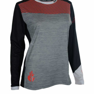 DHaRCO Women's MTB Long Sleeve Jersey – Grey Red Wave