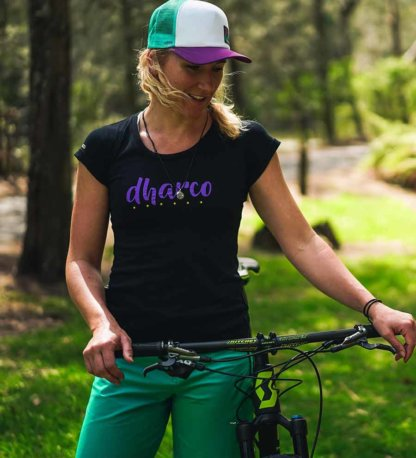 DHaRCO Ladies Tech Tee Black with Purple Logo