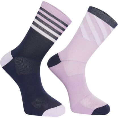 Madison Sportive Socks Twin Pack - Stripe Navy and Violet - Flow MTB