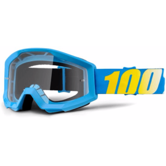 100% Strata MTB Goggles blue with clear lens