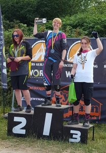 Flow MTB Rider Kate Gries round 3 Racers Guild Summer Series at Stile Cop Winner