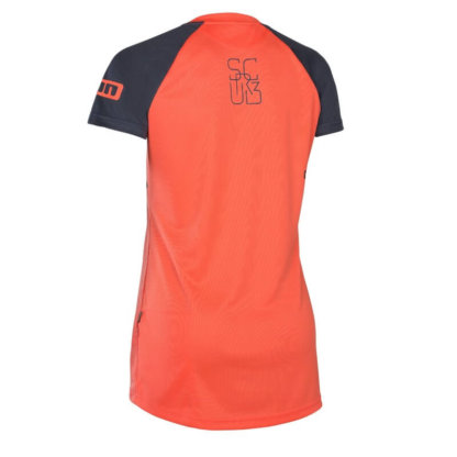 ION Scrub womens short sleeve MTB jersey in hot coral from Flow MTB