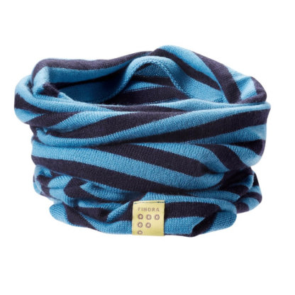 Findra Merino Bold Stripes Neck Warmer in Navy and Cyan