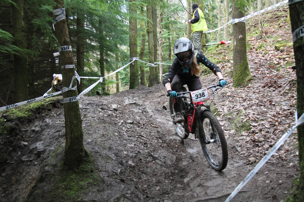 Flow MTB rider Emily Beckett at the first round of the 2018 Onza Mini Downhill, Forest of Dean