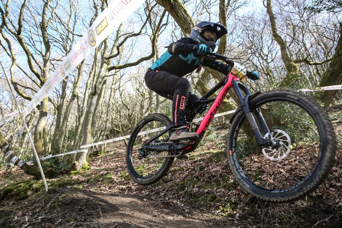 Pearce Downhill Series Round 1 Kinsham Flow MTB rider Emily Beckett