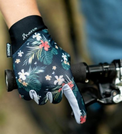 DHaRCO Ladies Hawaiian Flamingo Gloves available from Flow MTB