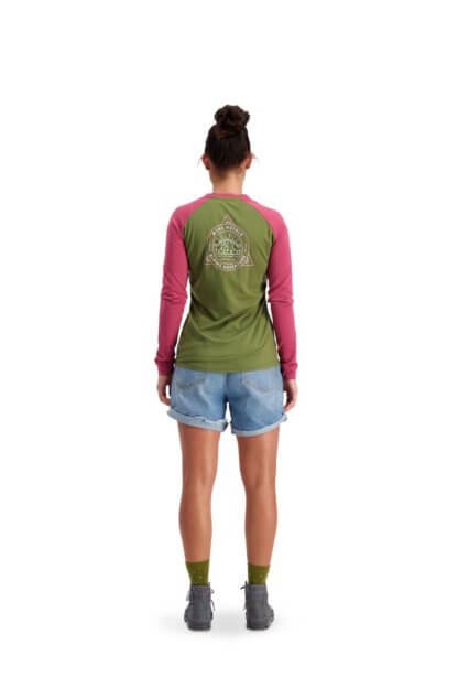Mons Royale Women's Icon Raglan Long Sleeve MTB Jersey in khaki and rose