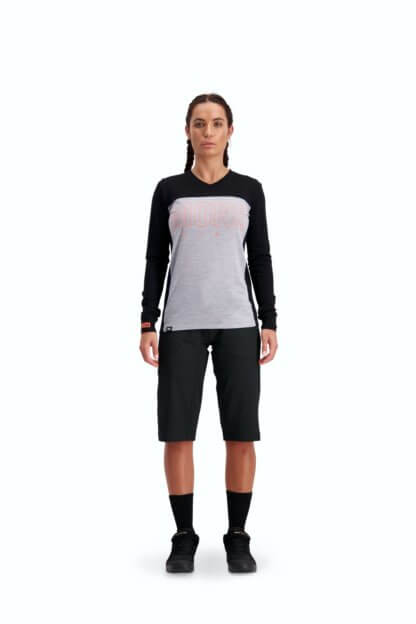 Mons Royale Women's Phoenix Enduro VLS Long Sleeve MTB Jersey in black and grey marl
