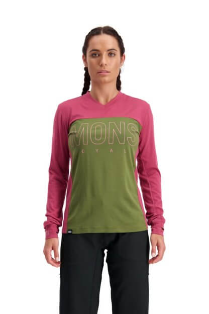 Mons Royale Women's Phoenix Enduro VLS Long Sleeve MTB Jersey in Khaki and Rose