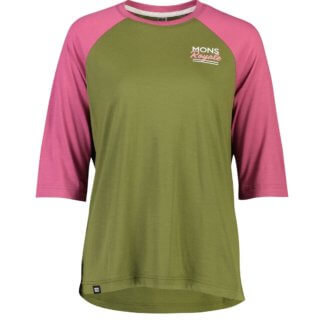 Mons Royale Women's Tarn Freeride Raglan 3/4 MTB Jersey - in khaki and rose
